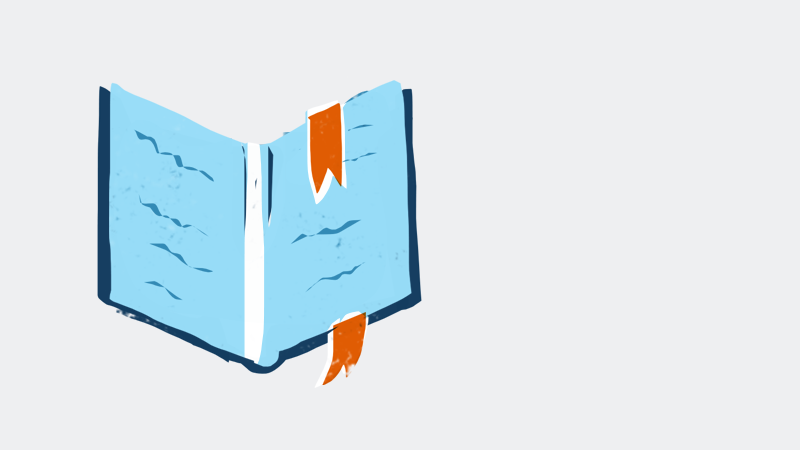 illustration of a book with a bookmark