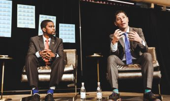 Mayor Melvin Carter of St. Paul and Mayor Jacob Frey of Minneapolis on stage at the BxB Summit