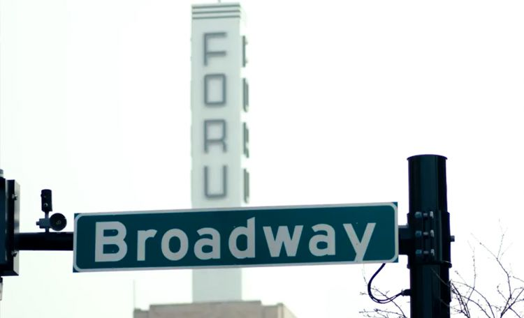 Broadway street sign in Fargo