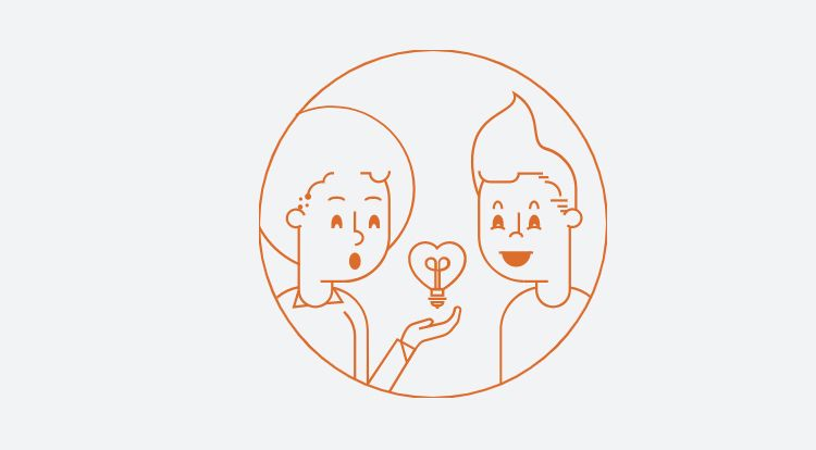 illustration holding a heart lightbulb