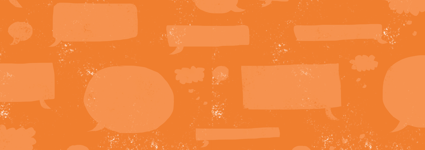 Orange background texture with empty speech bubbles