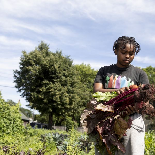 Omariasha Houston tends the plots using regenerative, sustainable and organic techniques