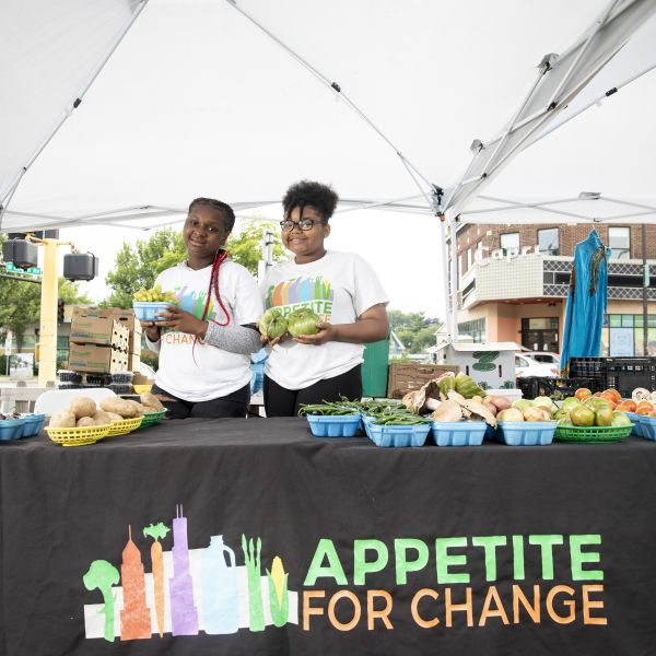 Tekyla Thompson and Arieana Moore at West Broadway Farmer's Market.