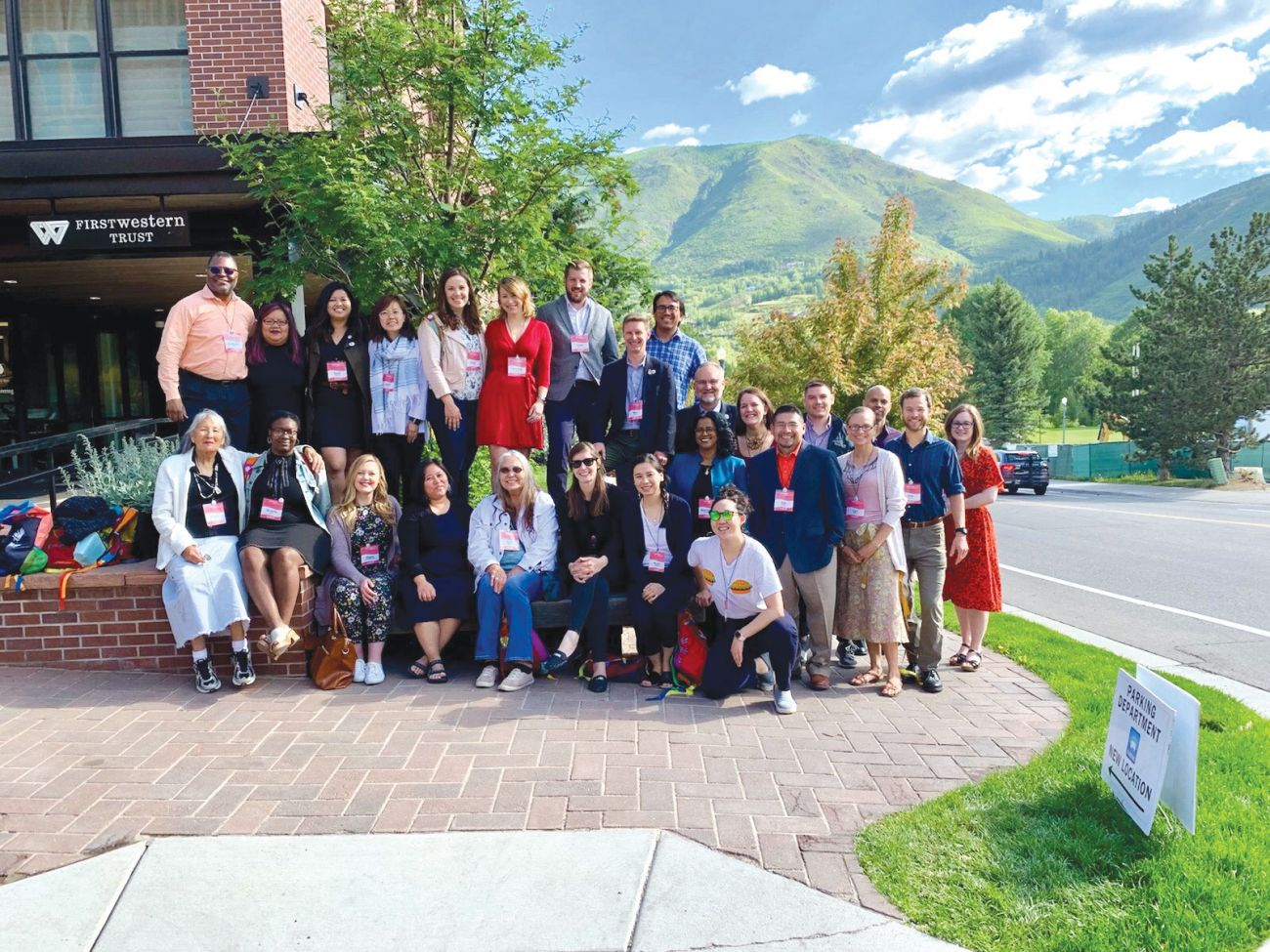 The 25 members of the Bush Foundation cohort at the Aspen Ideas Festival gathered to connect during the multi-day event in June 2019.