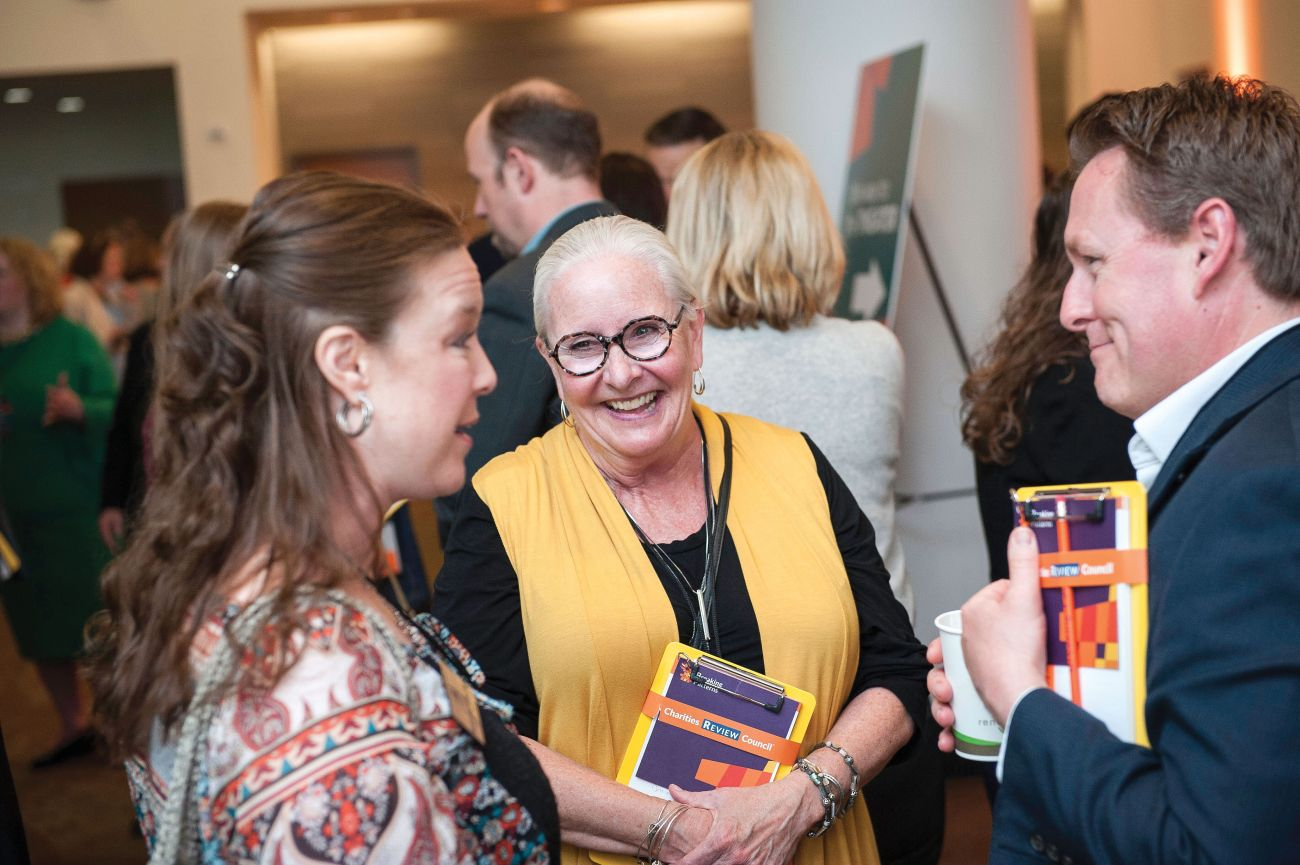 Attendees connect at the Charities Review Council's FORUM 2019