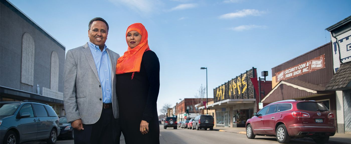 """Zack"" and co-owner wife Sahra Gure, outside the Midtown Plaza Mall in downtown Willmar"